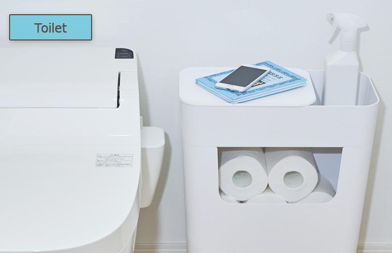 トイレットペーパーや消臭スプレー、お掃除シートなどもすっきり収納