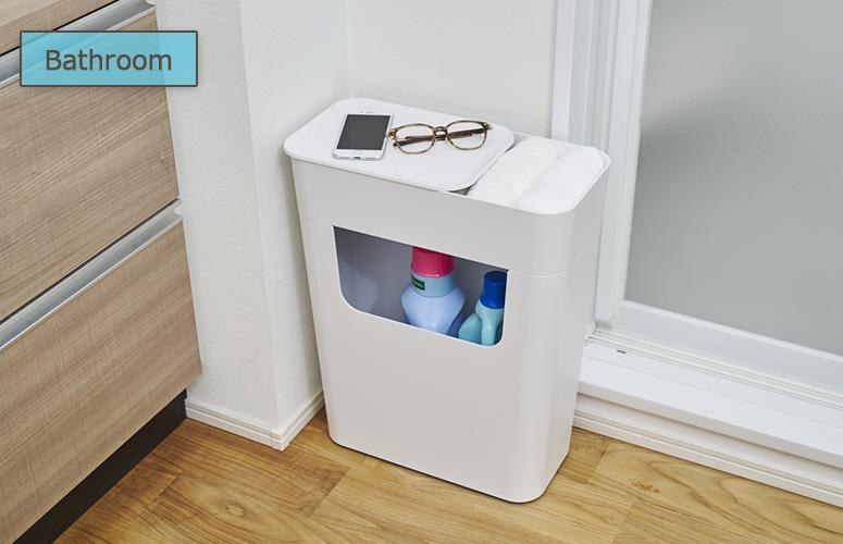 お風呂場や洗濯機の近くに置いて、掃除道具やタオルを収納