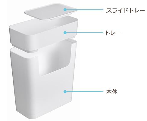 3つのパーツから構成されていて、収納の出し入れがしやすい